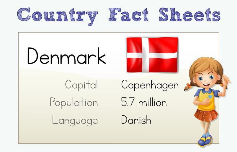 Fiche documentaire pour le Danemark vecteur