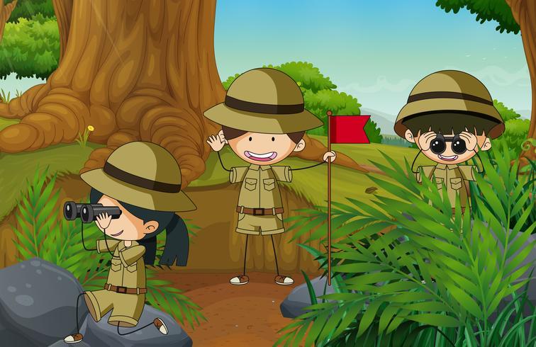 Doodle camping enfants dans la nature vecteur