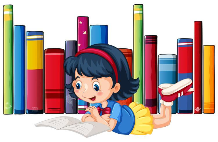 Jolie fille en lisant des livres vecteur