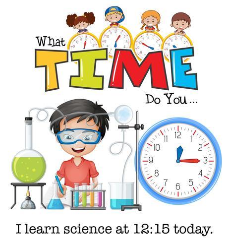 Un garçon apprend la science à 12h15 vecteur