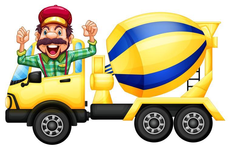 Un chauffeur de camion de ciment sur fond blanc vecteur