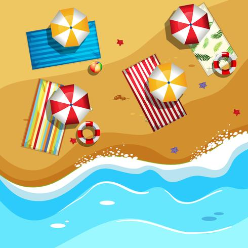 Vue aérienne de la plage d'été vecteur