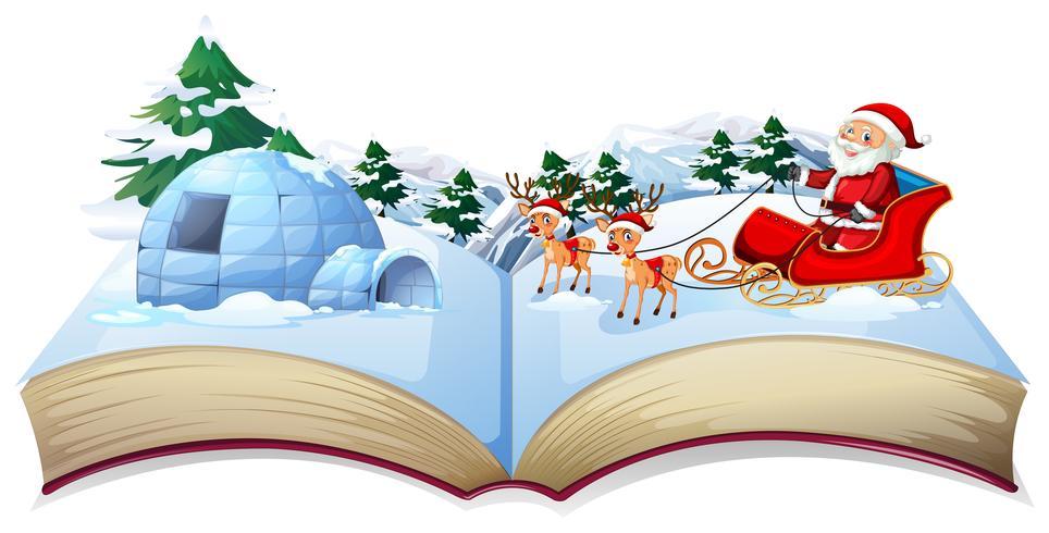 Livre magique de Noël ouvert avec le père Noël vecteur