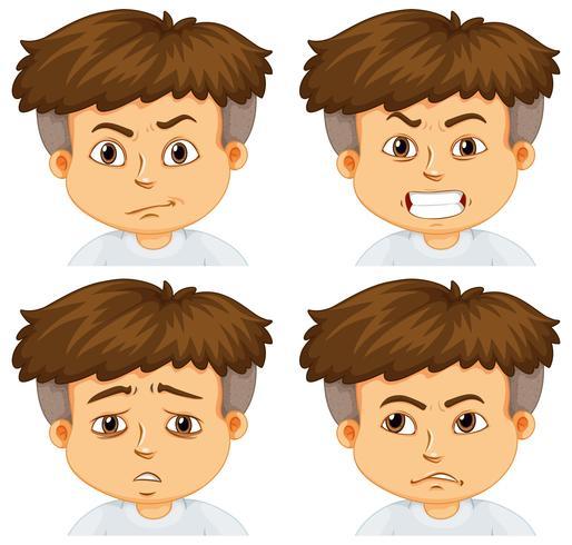 Garçon avec différentes émotions vecteur
