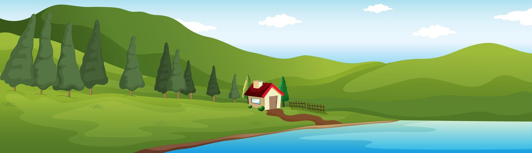 Scène de fond avec maison au bord du lac vecteur