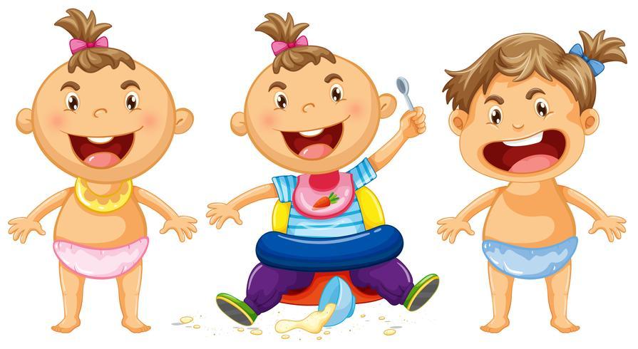 Trois Bebes Avec Un Grand Sourire Telecharger Vectoriel Gratuit Clipart Graphique Vecteur Dessins Et Pictogramme Gratuit