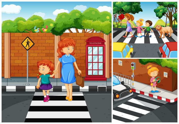 Personnes traversant la rue vecteur