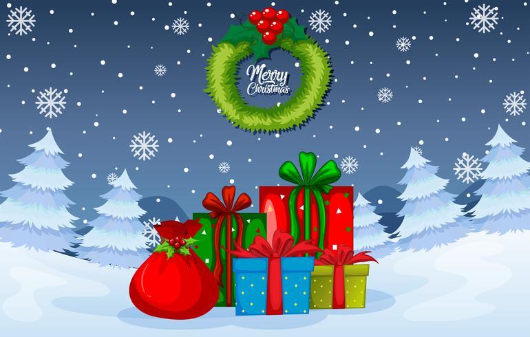 Modèle hiver cadeau de Noël vecteur