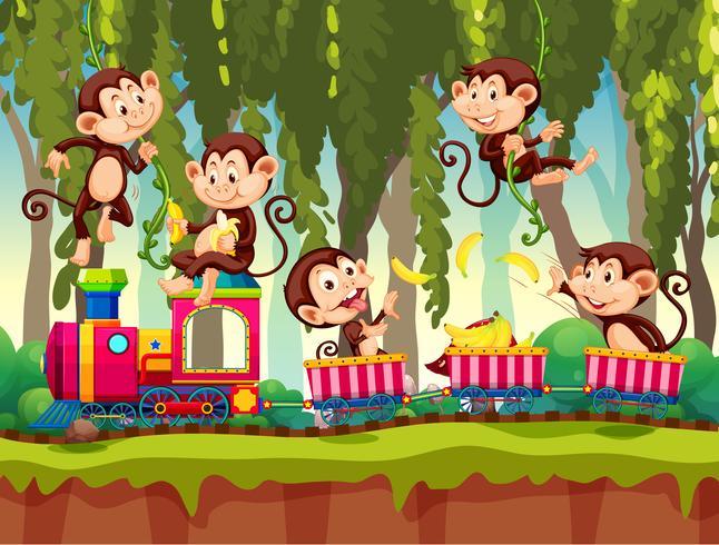 Singe en train dans la jungle vecteur