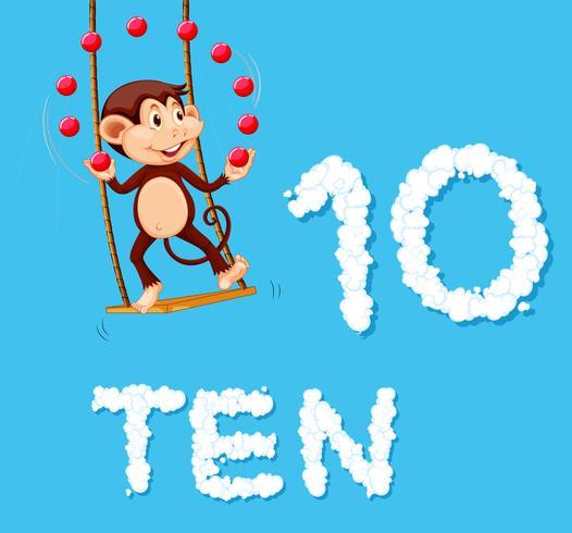 Un singe jonglant avec dix balles vecteur
