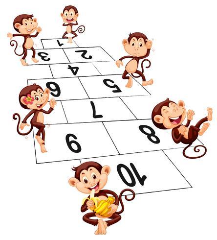 Six singes jouant à la marelle vecteur