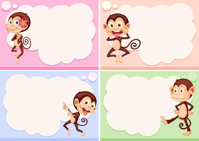 Quatre modèles de bordure avec des singes mignons vecteur