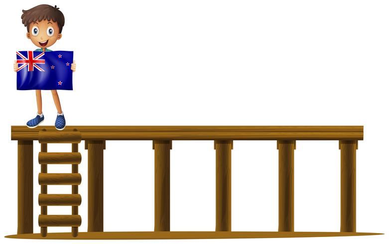 Garçon avec le drapeau de la Nouvelle-Zélande sur scène vecteur
