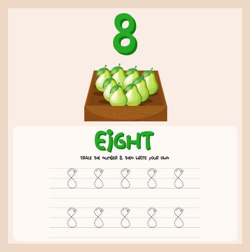 Numéro huit feuilles de traçage vecteur