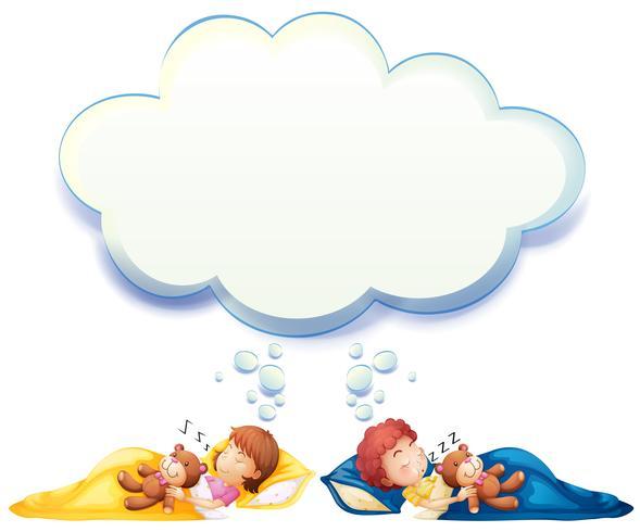 Garçon et fille dormant dans un lit vecteur
