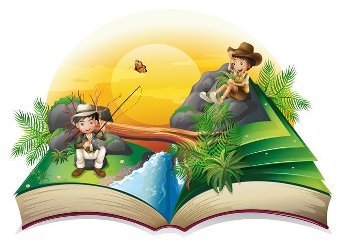 Un livre sur deux explorateurs vecteur