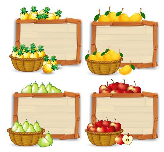Fruit sur bannière en bois vecteur