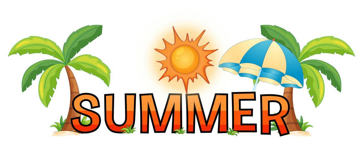 Création de police pour word summer vecteur