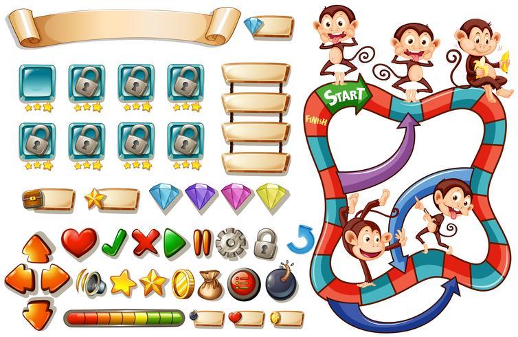 Modèle de jeu avec des singes vecteur