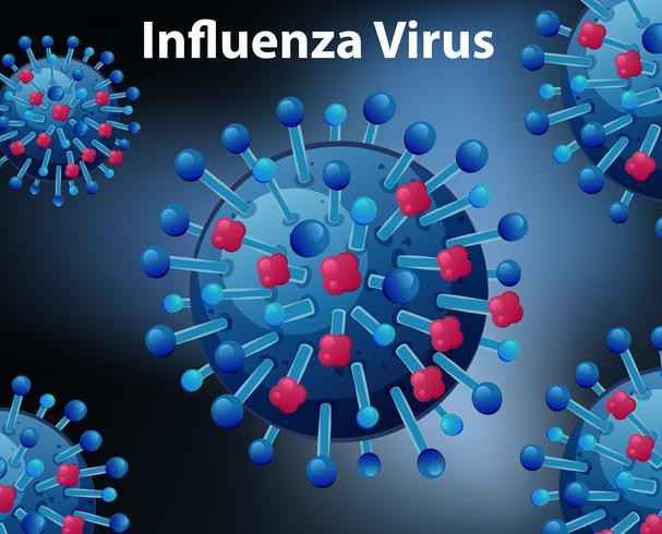 Gros plan sur le virus de la grippe vecteur