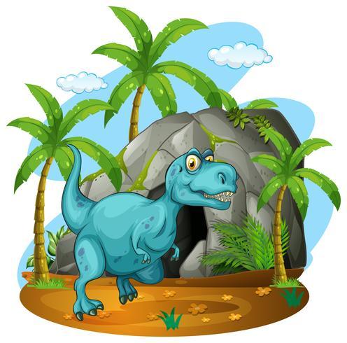 Dinosaure devant la grotte vecteur