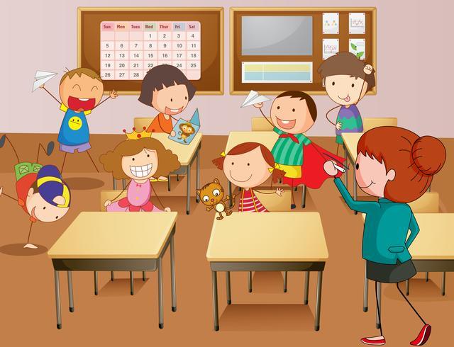 Enseignant et élèves à l'école vecteur