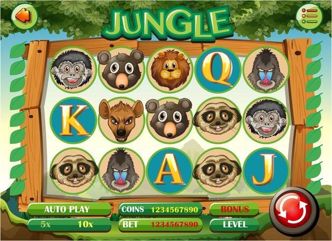 Modèle de jeu d'ordinateur avec le thème de la jungle vecteur