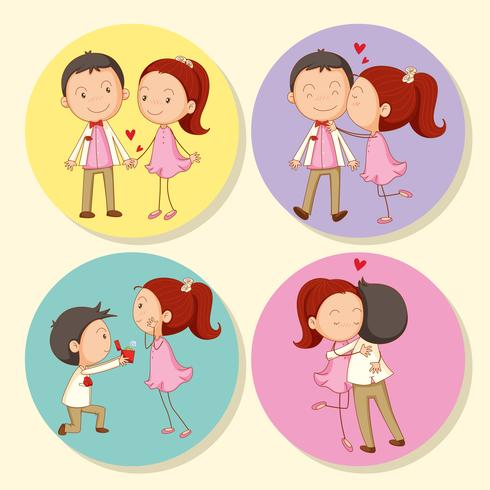 Amour couple sur badge rond vecteur