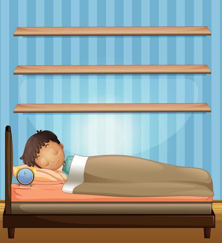 Garçon dormant dans la chambre vecteur