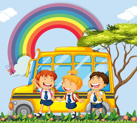 Des étudiants debout à côté de l'autobus scolaire vecteur