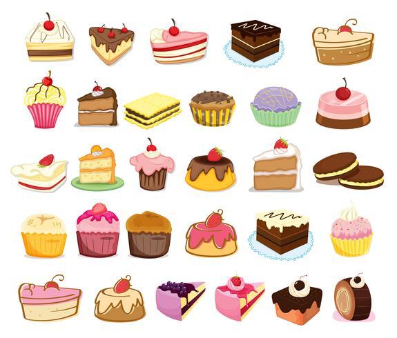 Gâteaux et desserts vecteur