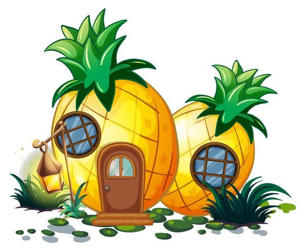 Maison d'ananas dans le jardin vecteur