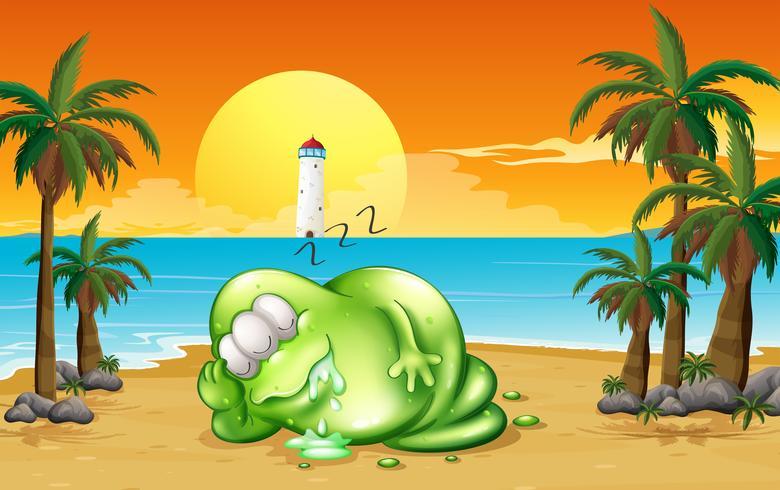 Un monstre endormi à la plage vecteur