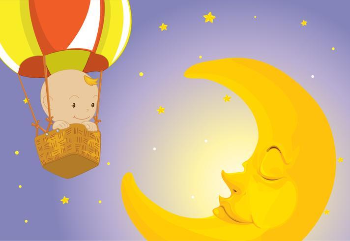 Bébé visite la lune vecteur