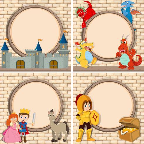 Quatre images avec personnages de contes de fées vecteur