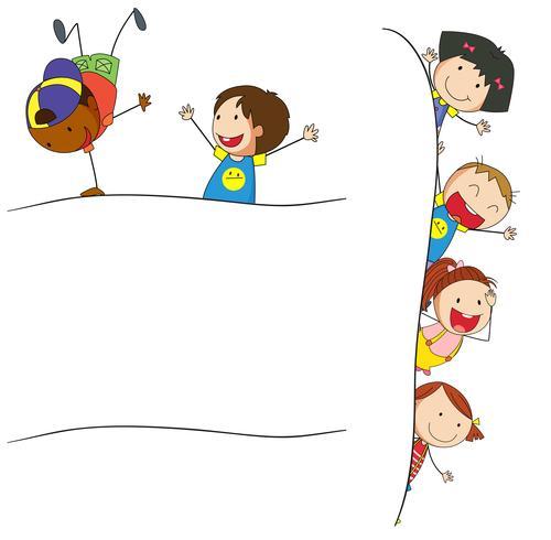 Doodle enfants sur modèle vierge vecteur