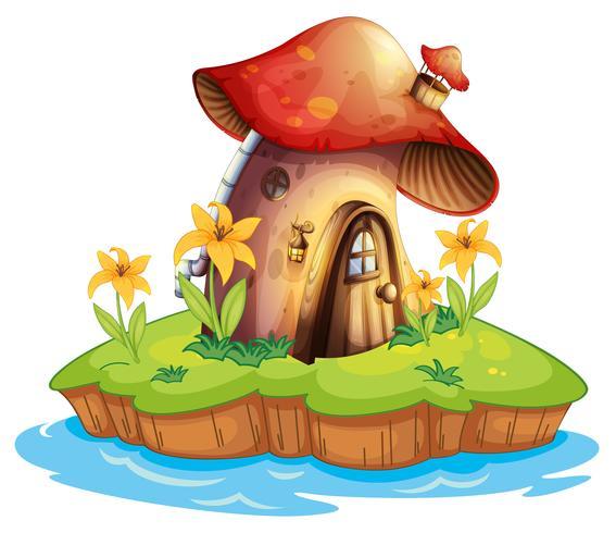Une maison de champignon vecteur