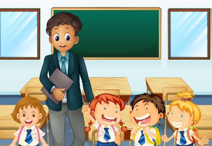 Enseignant et étudiants en classe vecteur