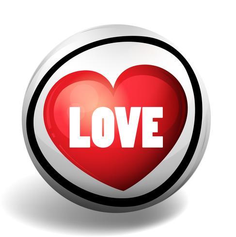 Mot d'amour sur un badge rond vecteur