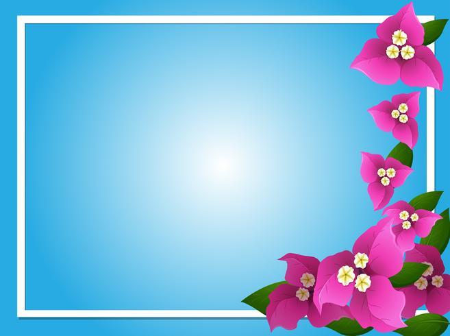 Modèle de bordure avec bougainvilliers roses vecteur