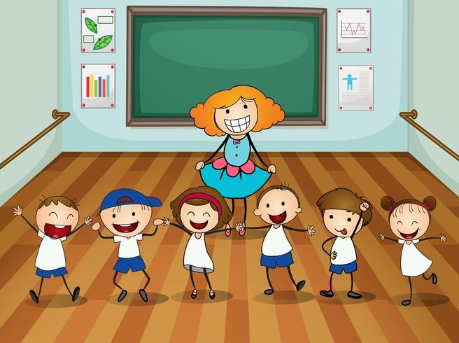 Enseignant et élèves en cours de danse vecteur