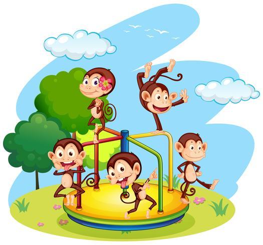 Cinq singes jouant au rond-point vecteur