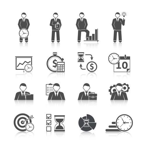Jeu d'icônes de gestion du temps vecteur