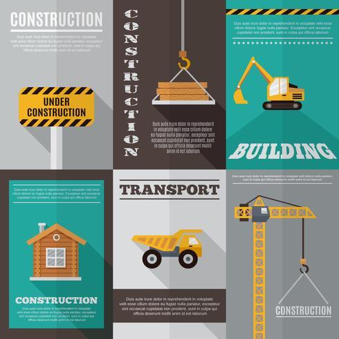 Jeu d'affiches de construction vecteur