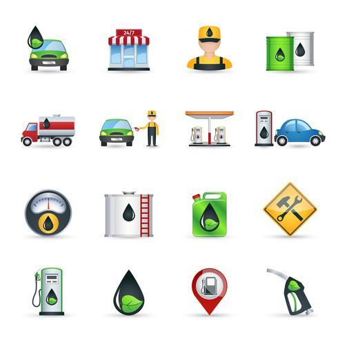 Set d'icônes de station d'essence vecteur