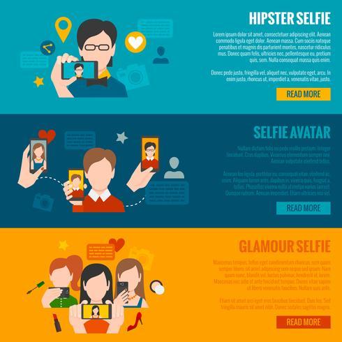 ensemble de bannière selfie vecteur