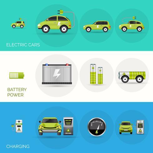 Bannières de voitures électriques vecteur