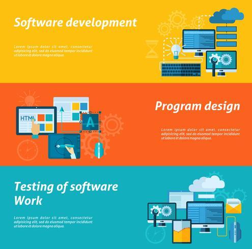 Ensemble de bannière de développement de programme vecteur