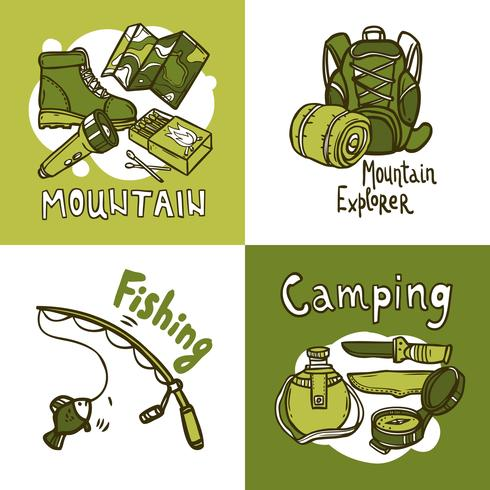 Concept de design de camping vecteur