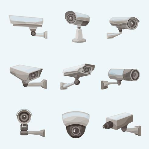 Icônes réalistes de caméra de surveillance vecteur